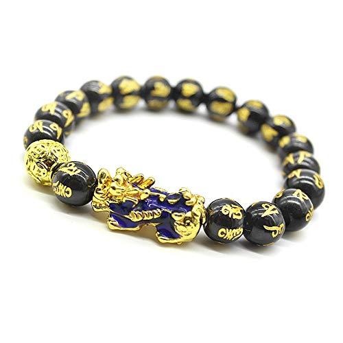 Feng Shui 10mm Hand Carved Mantra Bead Bracelet with Golden Coins Bead and Color Changed Pi Xiu/Pi Yao Attract Wealth and Good Luck