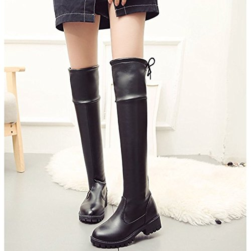 Fashion Black Boots Round Black Boots for ZHZNVX Casual The Chunky Shoes Over Comfort Women's Heel PU Boots Knee Winter HSXZ Fall Toe w0fqT1n