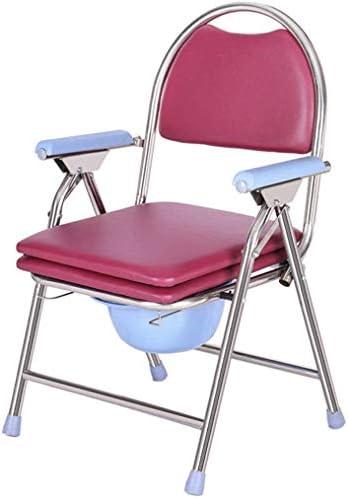 GBX Beweglicher Faltbare Durablefolding Potty Wc Stuhl, Rollstuhl Dusche Kopfendecommode Stuhl, Mit Antimicrobial Schutz, Padded Badestuhl,Rosa
