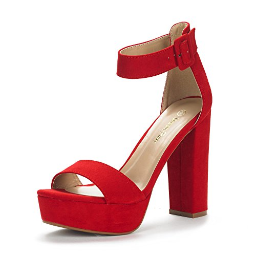 DREAM PAIRS Women's Hi-Lo Red Suede High Heel Platform Pump Sandals - 8 M US