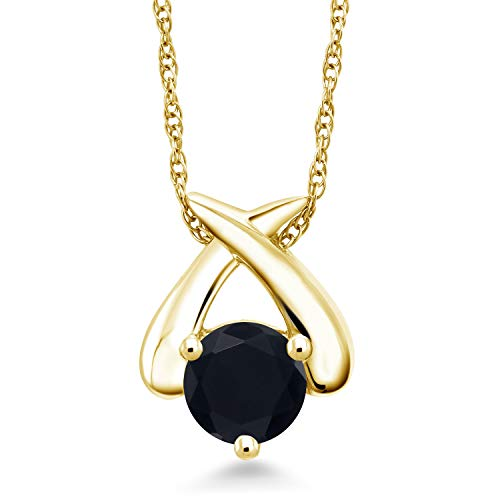 (Gem Stone King 0.80 Ct Round Black Onyx 10K Yellow Gold Pendant With Chain)