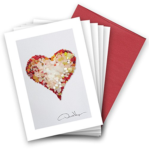 Rare Red Valentines Day Sea Glass Heart Note Cards. Love. 3.5x5. 8 Best Quality,Blank Folded Cards Matching Envelopes. Unique as Thank You Notes, Invitations & Gifts.