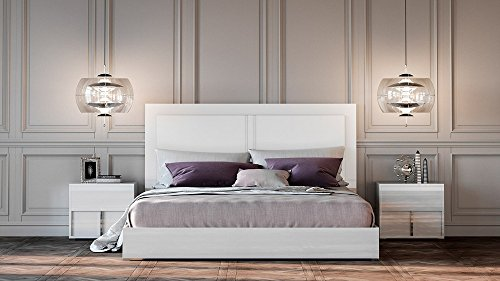 Limari Home The Georges Collection Modern Italian Crafted Glossy White Finish King Size Bed With Headboard & Chrome Metal Accents, King Size, - Italian Platform Modern Bed