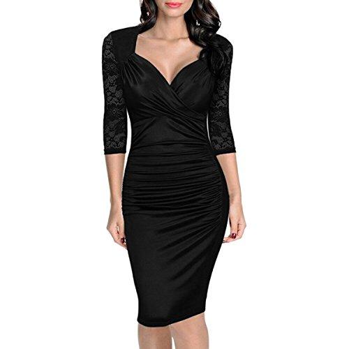 JINGLIYA Elegante Atractivo Mujeres Chica Media Manga con Cuello En V Cordón Cremallera Baile Banquete Cóctel Vestido negro