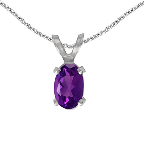 FB Jewels Solid 14k White Gold Genuine Birthstone Oval Amethyst Pendant (1/3 Cttw.)