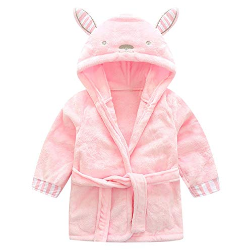 NUWFOR Baby Boys Girls Kids Bathrobe Cartoon Animals Hooded Towel Pajamas Clothes(Pink,2-3 Years) -