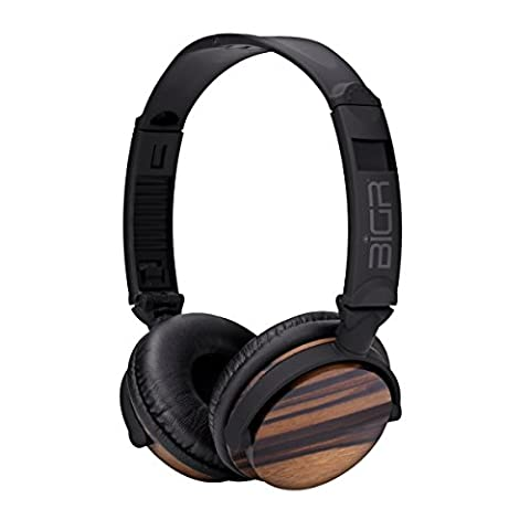 BiGR Audio Wood Over-Ear Headphones with Detachable Cable and Inline Mic, Rosewood (Bigr Audio Cable)