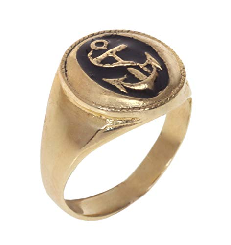 Signet Pinky Ring for Men OR Women, Unique Handmade 14K Gold Plated Anchor Seal Ring, Size US 3, Artisan Unisex Statement Jewelry