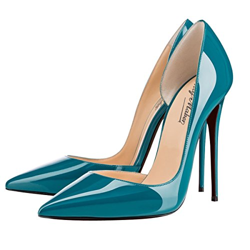 Dark Wedding Hin Women's Coppy JOOGO Heels Dark Graceful Sandals Dress Shoes Customize Glitter Fashion Toe Green Pumps Big Leather Party D'Orsay Size Green Pointed awBaqd