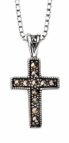 (My-jewellery 925 Silver Marcasite Cross Pendant Necklace 20