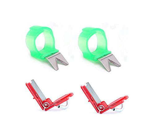 Pack of 4 Vegetable Fruit Picker Picking Finger Ring Harvesting Cut Tool (V-Shape and I hape) ()