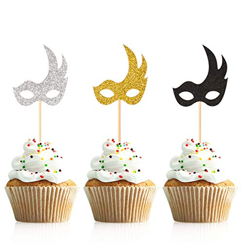 Donoter 48 Pcs Glitter Mardi Gras Mask Cupcake Topper Picks for Masquerade Birthday Party Decorations