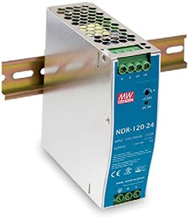 NDR-120-24 AC-DC Single output Industrial DIN rail power supply; Output 24Vdc at 5A; Metal case