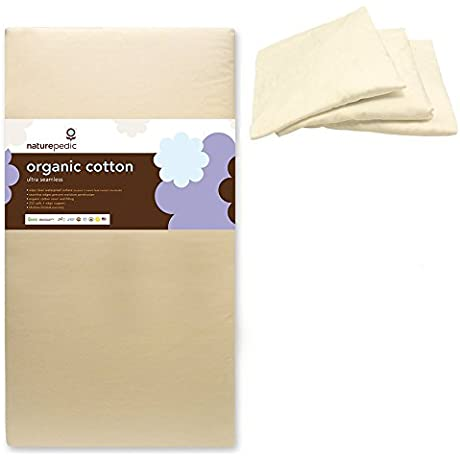 Naturepedic Organic Cotton Ultra 252 Seamless Crib Mattress W 3 Pack Organic Cotton Crib Fitted Sheet White