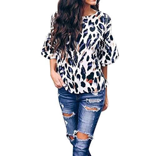 (Women Casual Movie Female Character T-Shirt Short Sleeve Leopard O-Neck Blouse Shirt Pullover Tops (S,)