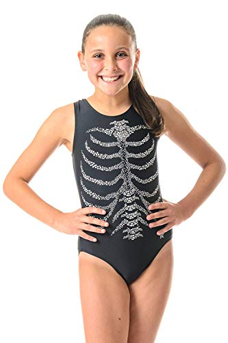 DESTIRA Skeleton Rib Cage Leotard With Crystals Child S/Size 6 ()