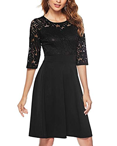 with Swing Party Vintage Lace Dress Sleeves 4 Floral 3 Cocktail Black Mixfeer Women's 8SxwX8Y