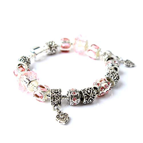 (IDB Vintage Silver Tone Double Heart Glass Beaded Bracelet - Approx 7.4 Inch Strand with Extender Chain - Multiple Colors Available (Pink)