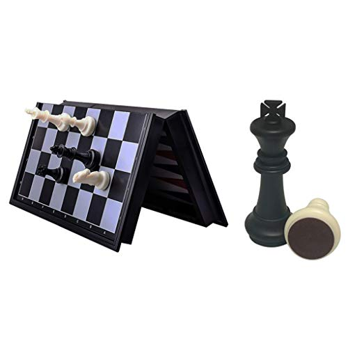 (3 in 1 Chess Checkers Backgammon Set Travel Plastic Chess Game Magnetic Chess Pieces Folding Checkerboard Gift Entertainment (Color : Black White, Size : 36362 cm) )