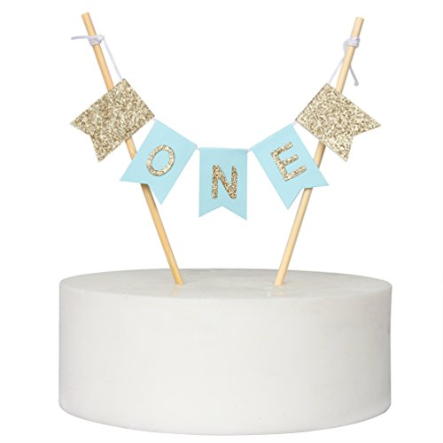 "Handmade ""ONE"" Birthday Cake Topper - 1st First Birthday Cake Bunting for Baby Boy Party Supplies"
