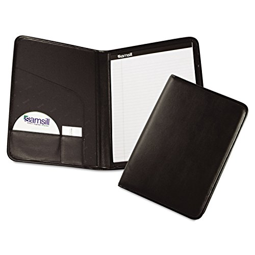 Samsill 70810 Professional Padfolio Storage Pockets/Card Slots Writing Pad Black by Samsill