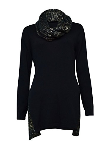 Style & Co Women's Sequin Embellished Trim & Scarf Sweater (XS, Black Combo) ()