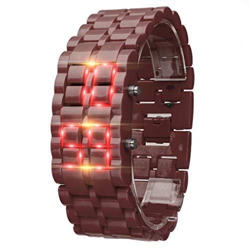 (TIFENNY New Iron Samurai Metal Bracelet Watch LED Digital Watches Hour Men Women Stylish Sport Wrist Watch)