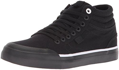 DC Women's Evan HI TX Skate Shoe, Black/Black/White, 7 B US by DC