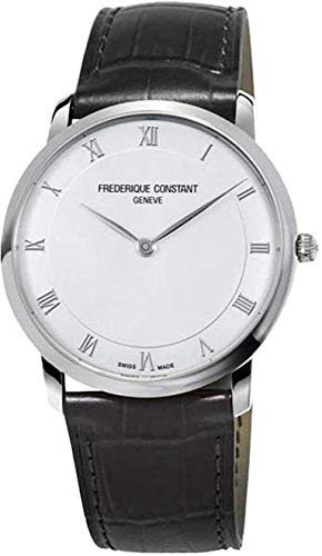 Frederique Constant Slimline Silver Dial Leather Strap Men's Watch FC-200RS5S36