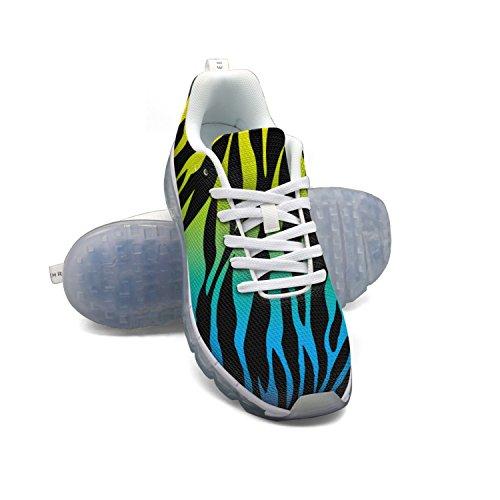 Faaerd Colorful Zebra Stripe Mens Mesh Traspirante A Piedi Sneakers Cuscino Daria Scarpe Sportive Traspiranti Scarpe Da Corsa Atletiche