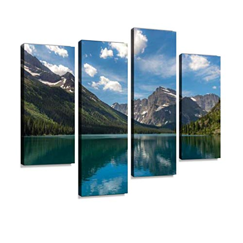 Scenic View in Glacier National Park Canvas Wall Art Hanging Paintings Modern Artwork Abstract Picture Prints Home Decoration Gift Unique Designed Framed 4 Panel