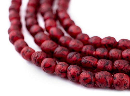 African Recycled Glass Beads - Full Strand Eco-Friendly Fair Trade Sea Glass Beads from Ghana Handmade Ethnic Round Spherical Tribal Boho Krobo Spacer Beads - The Bead Chest (7mm, Red Black Swirl)
