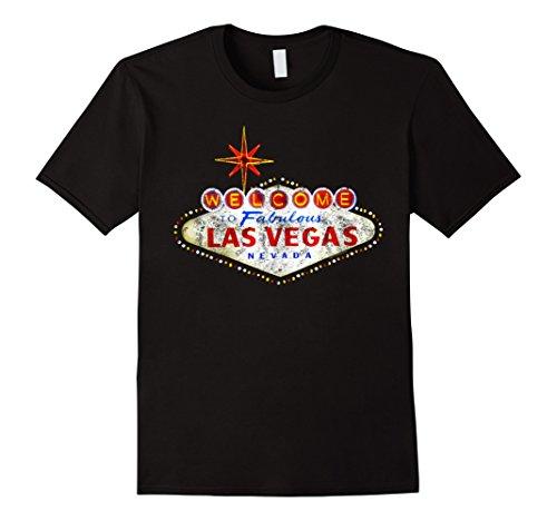 Mens Welcome to Las Vegas Nevada Vintage Sign Souvenir T-Shirt Medium Black
