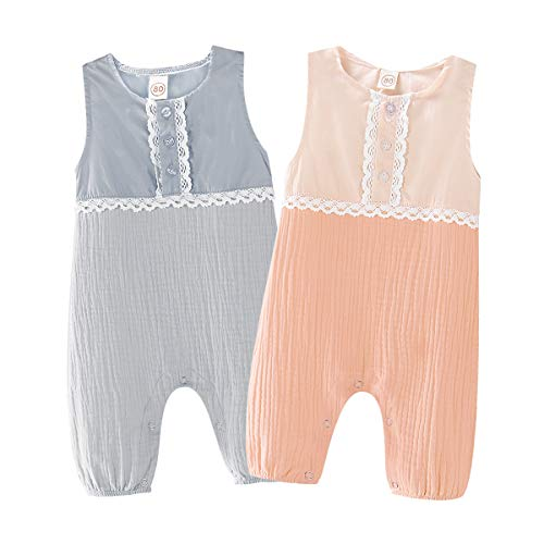 Saeaby Toddler Baby Jumpsuit Girl Sleeveless Romper Cotton One-Piece Bodysuit Baby Girl Rompers 6-12 Months