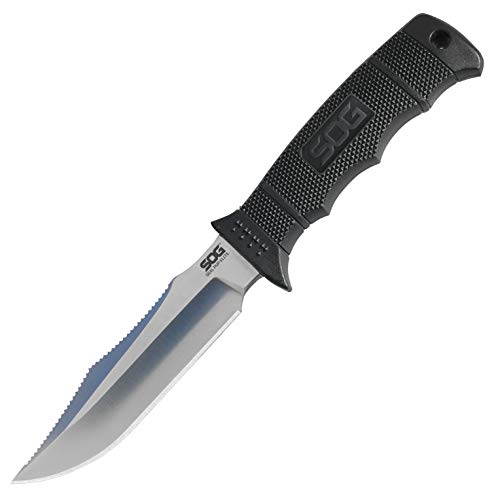 SOG Survival Knife - SEAL Pup Elite Fixed Blade Knife and Tactical Knife w/ 4.85 Inch Hunting Knife Blade and MOLLE Compatible Nylon Sheath (E37N-CP)