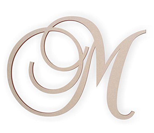 Jess and Jessica Wooden Letter M, Wooden Monogram Wall Hanging, Large Wooden Letters, Cursive Wood Letter ()