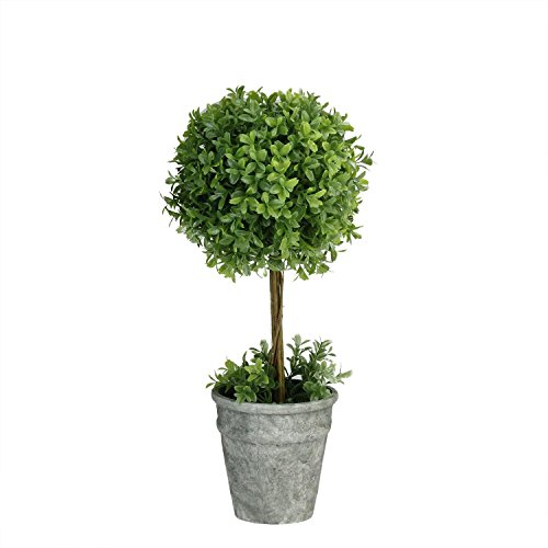 """UPC 755673822335, Northlight Artificial Boxwood Topiary in Decorative Distressed Gray Paper Mache Pot, 17"""", Green"""