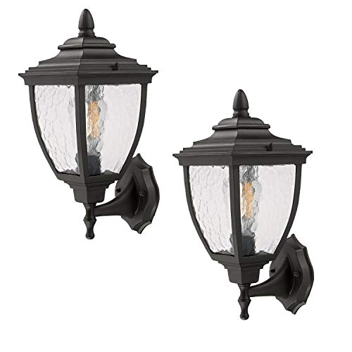 "2-Pack Outdoor Wall Sconce, Beionxii 15.8"" Height Large Exterior Wall Mount Light Fixture, Matte Black Finish with Water Ripple Glass Shades"