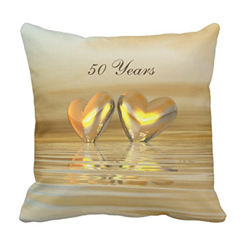 (Emvency Throw Pillow Cover 50Th Golden Anniversary Hearts Fiftieth Years Fifty Gold Decorative Pillow Case Home Decor Square 20 x 20 Inch Pillowcase)