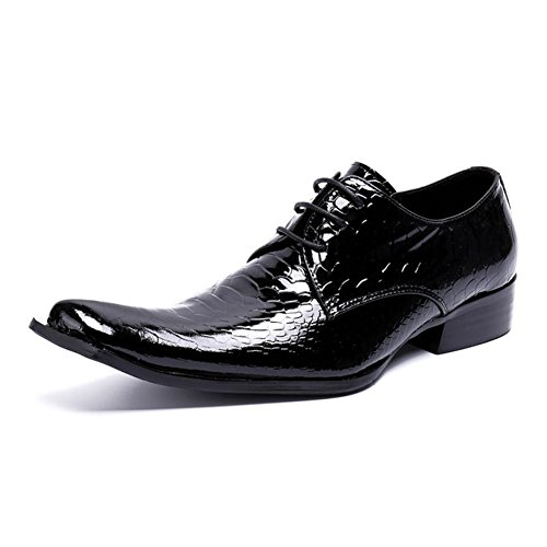Evening Shoes Party Wedding 37 Men's Shoes Summer Color Size amp; Formal A HUAN Bright Spring Black Toe Oxfords Square Leather for 74ZcRnOYq