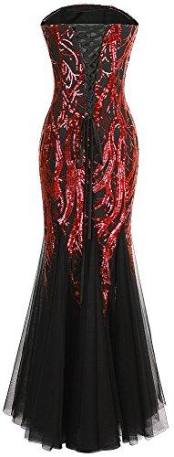 Rojo noche Lentejuela Negro Mujer Angel tirantes Vendimia Vestidos fashions Sin de qwvn0Ygfn
