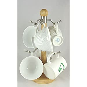 Artisan Wood Stand 6 Mug Holder Tree with Stainless Steel Hooks