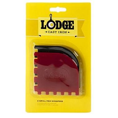 Lodge SCRAPERGPK Durable Grill Pan Scrapers, Red and Black, 2-Pack