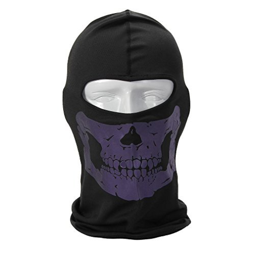 Rioriva Bandana Novel Skull Bike Motorcycle Helmet Neck Face Mask Paintball Ski Headband (Skull-purple),One Size,BC-05