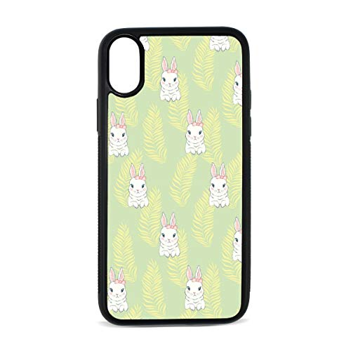 Apple iPhone X Case Cute Cartoon White Bunny Yellow Liquid Silicone Phone Case with Hard Plastic PC Ultra Thin Mobile Phone Cover Case