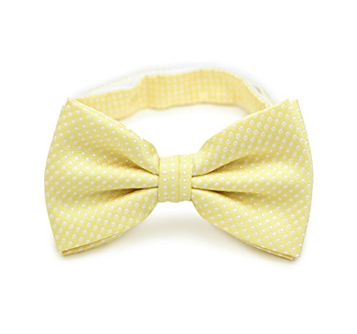 Soft Yellow Satin - Bows-N-Ties Men's Pre-Tied Bow Tie Pin Dot Microfiber Adjustable Satin Bowtie (Soft Yellow)