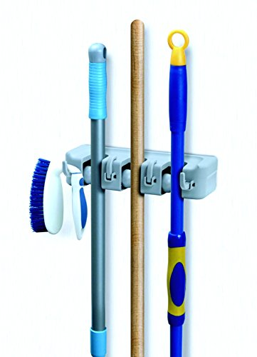 Mop and Broom Wall Organiser, White