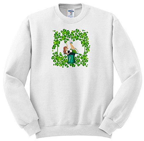 Price comparison product image 3dRose Uta Naumann Sayings and Typography - Ireland Holiday Girl and Clover Frame - ST Patricks Day - Sweatshirts - Youth Sweatshirt Med(10-12) (SS_275292_11)