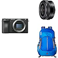 Sony Alpha a6500 Mirrorless Digital Camera & Sony SELP1650 16-50mm Power Zoom Lens & AmazonBasics Hiker Camera and Laptop Backpack - Blue