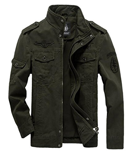 WANSHIYISHE Mens Winter Zip Front Military Style Air Force Jacket Coat Armygreen US L